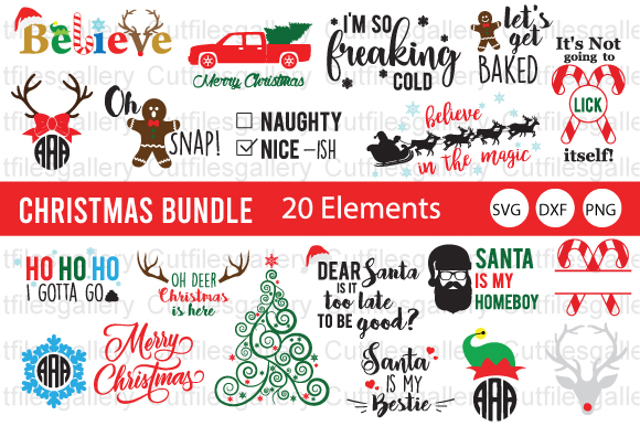 Download Free Christmas Monogram Bundle Graphic By Cutfilesgallery Creative for Cricut Explore, Silhouette and other cutting machines.