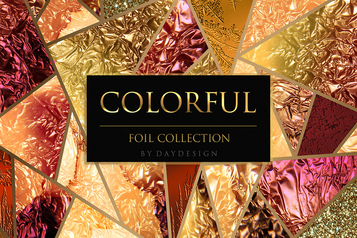 Download Free Colorful Foil Textures Graphic By Daydesign Creative Fabrica for Cricut Explore, Silhouette and other cutting machines.