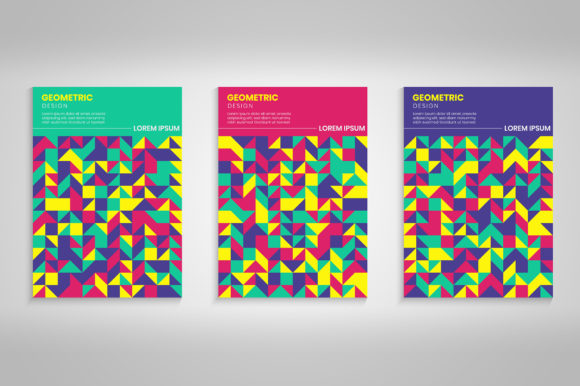 Colorful Geometric Covers Background Set Graphic Backgrounds By medelwardi