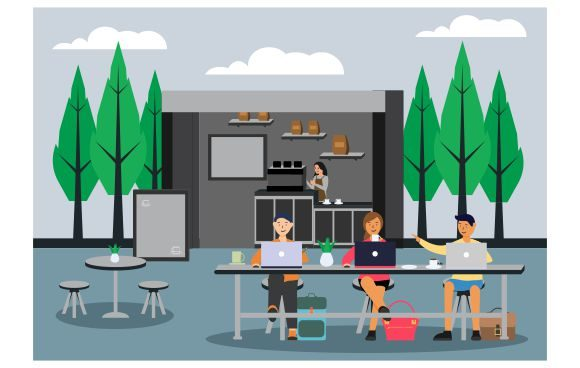 Download Free Coworking Space Outdoor Graphic By Redvy Creative Creative Fabrica for Cricut Explore, Silhouette and other cutting machines.