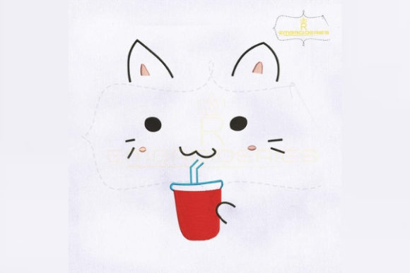 Download Free Cute Cat Drinking Juice Creative Fabrica for Cricut Explore, Silhouette and other cutting machines.