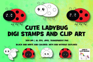 Print on Demand: Cute Ladybug Digi Stamps and Clip Art Graphic Illustrations By Janet's Cute Designs