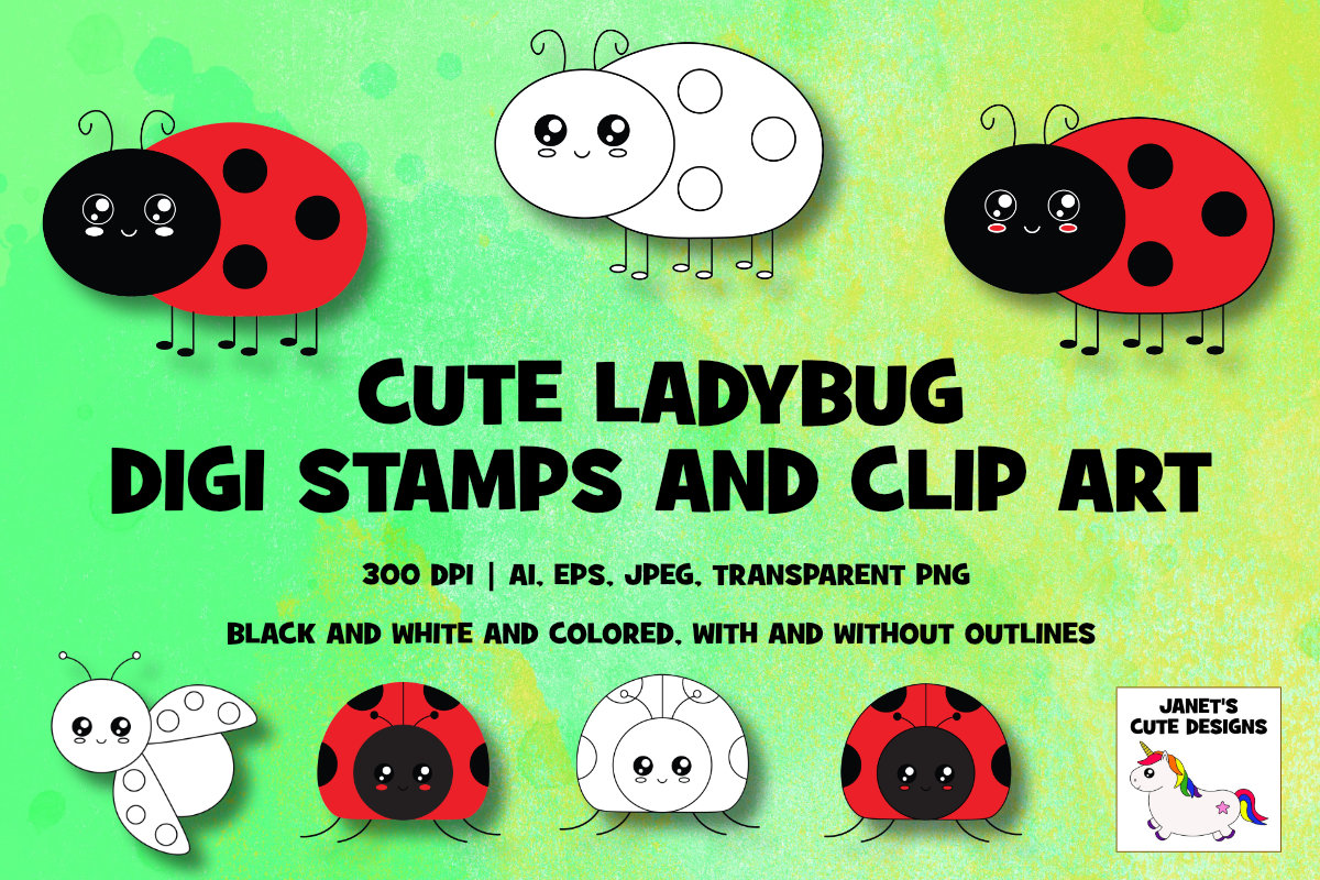 Download Free Cute Ladybug Digi Stamps And Clip Art Graphic By Janet S Cute for Cricut Explore, Silhouette and other cutting machines.
