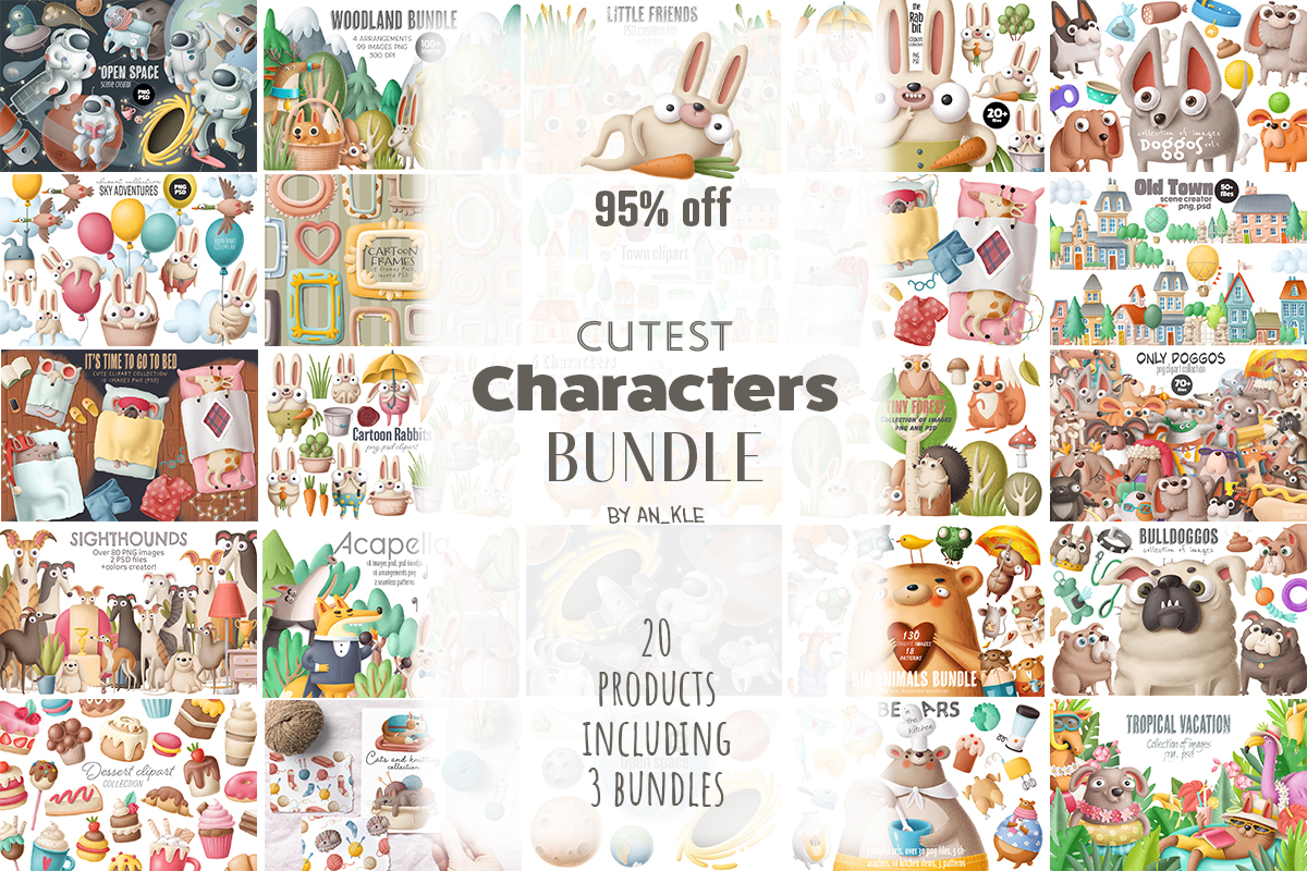 Download Free Cutest Characters Bundle Bundle Creative Fabrica for Cricut Explore, Silhouette and other cutting machines.