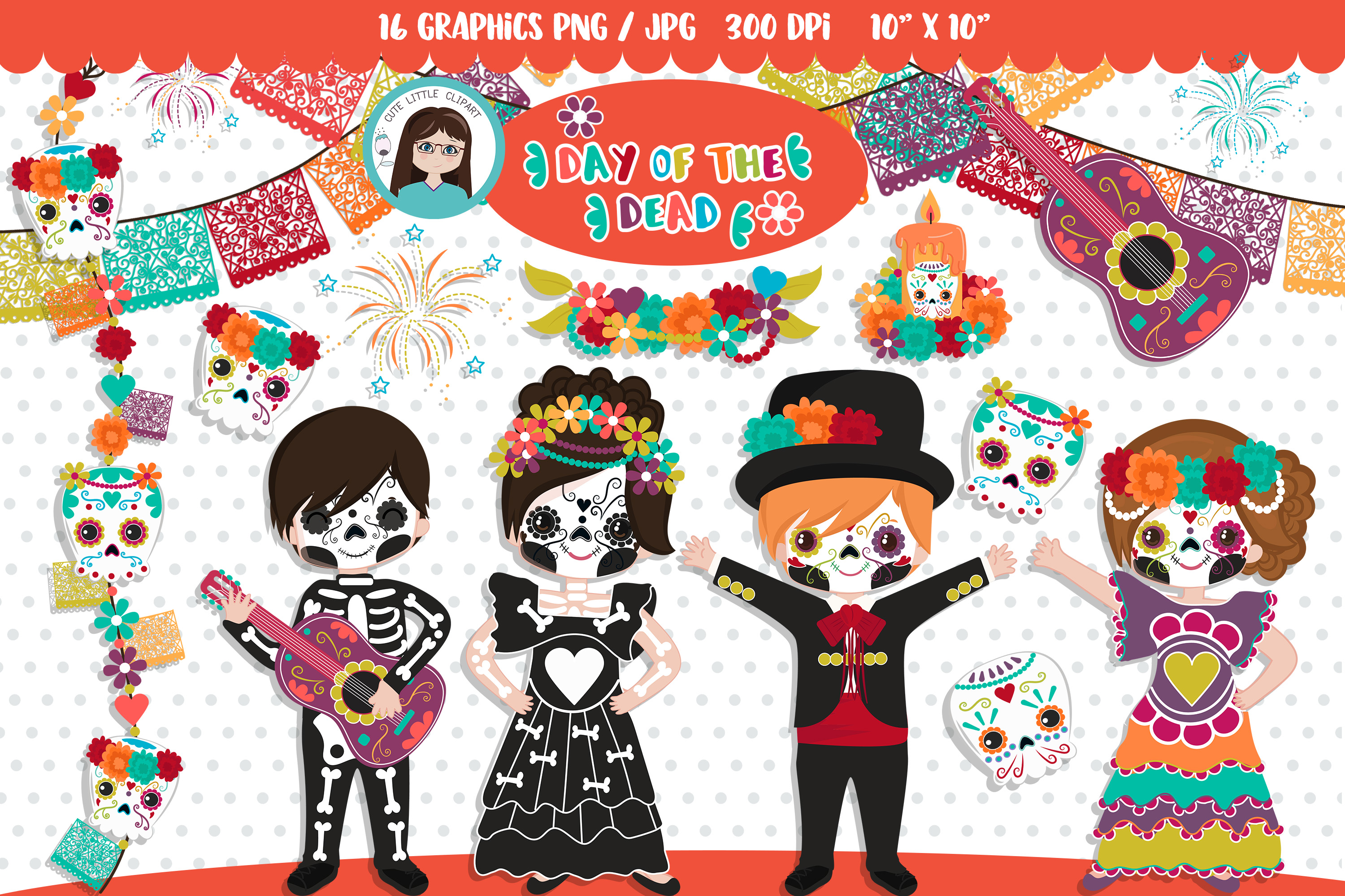 Download Free Day Of The Dead Cliparts Graphic By Cutelittleclipart Creative for Cricut Explore, Silhouette and other cutting machines.