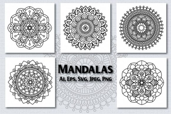 Download Free Design Bundles 5 Mandalas Graphic By Svg Shop Creative Fabrica for Cricut Explore, Silhouette and other cutting machines.