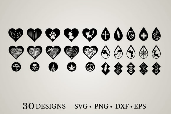 Download Free 3 Leather Earring Svg Designs Graphics for Cricut Explore, Silhouette and other cutting machines.