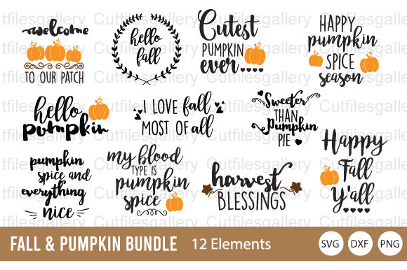 Download Free Fall Pumpkin Bundle Graphic By Cutfilesgallery Creative Fabrica for Cricut Explore, Silhouette and other cutting machines.