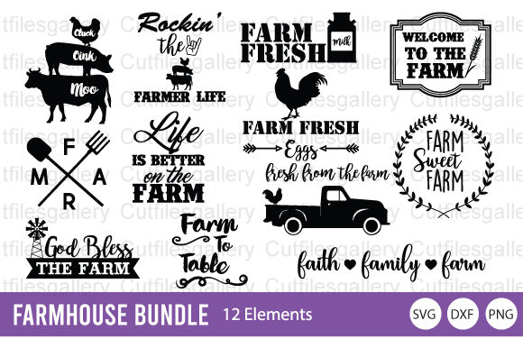 Download Free Farm Bundle Graphic By Cutfilesgallery Creative Fabrica for Cricut Explore, Silhouette and other cutting machines.