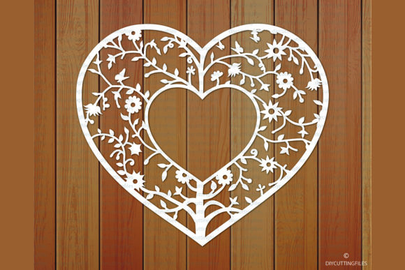 Download Free Floral Heart Frame Paper Cut Template Graphic By Diycuttingfiles for Cricut Explore, Silhouette and other cutting machines.