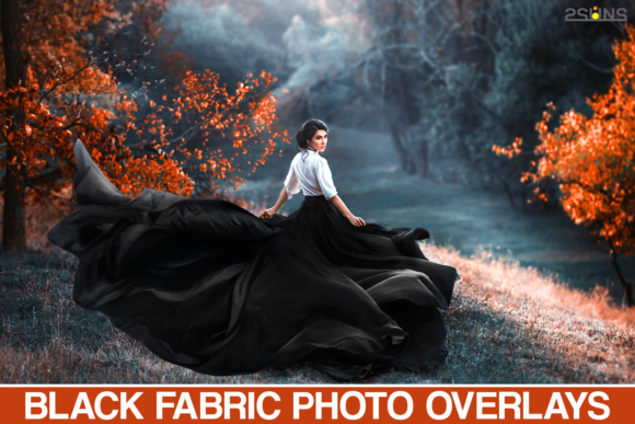 Flying Black Fabric Overlays Photoshop Graphic Actions & Presets By 2SUNS