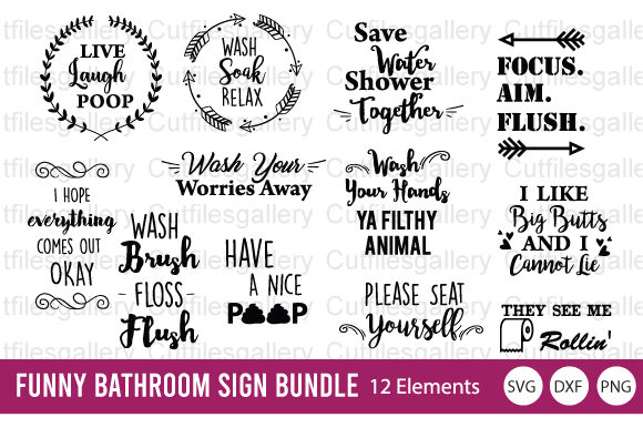Download Free Funny Bathroom Sign Bundle Graphic By Cutfilesgallery Creative for Cricut Explore, Silhouette and other cutting machines.