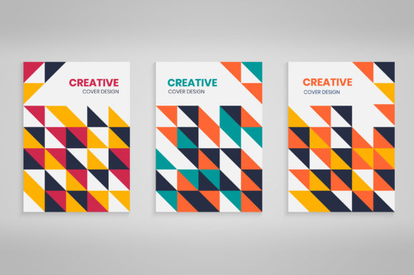 Geometric Colorful Abstract Covers Set Graphic Backgrounds By medelwardi
