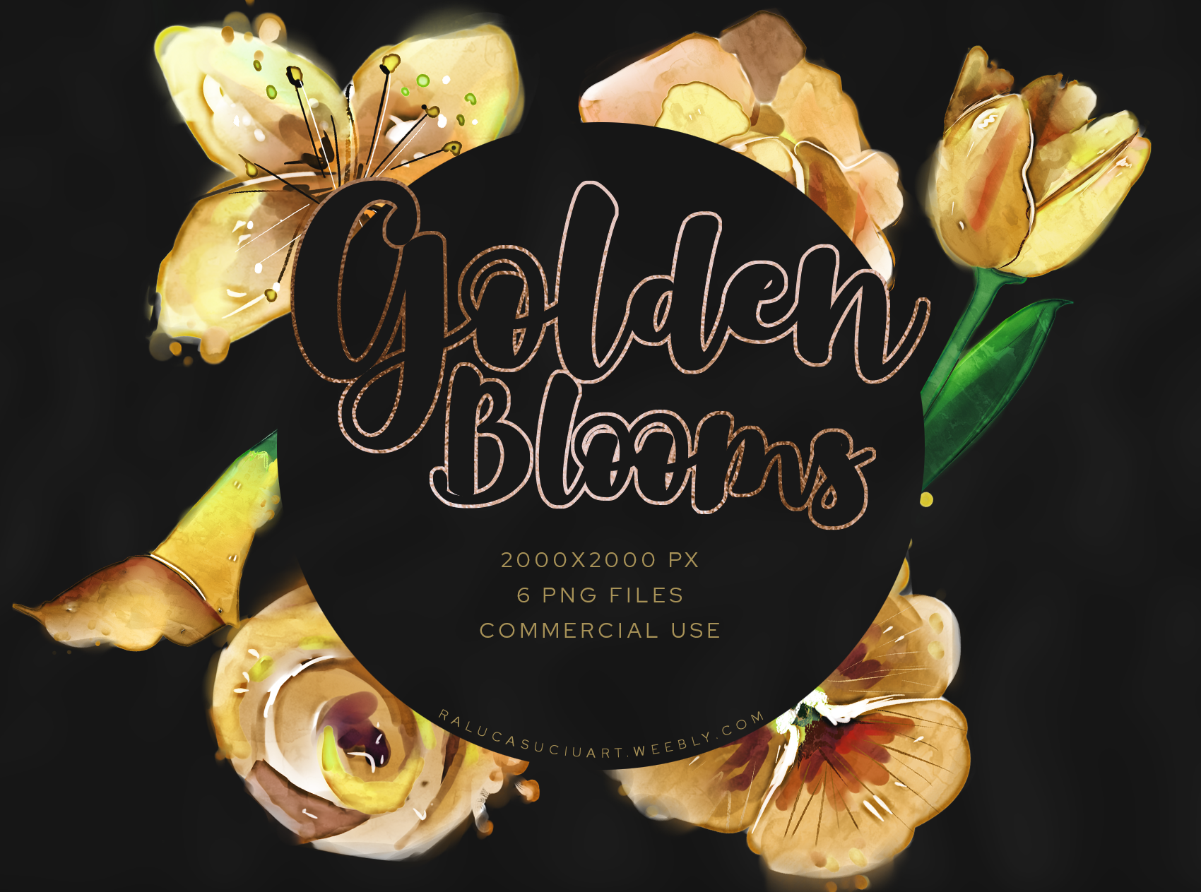 Download Free Golden Watercolor Flowers Graphic By Ralucasuciuart Creative Fabrica for Cricut Explore, Silhouette and other cutting machines.