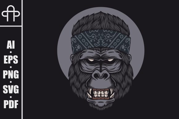Print on Demand: Gorilla Head Bandana Vector Illustration Gráfico Ilustraciones Por Andypp