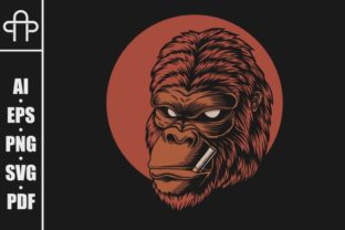 Gorilla Head Smoke Vector Illustration Graphic By Andypp