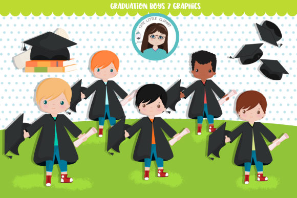 Graduation Boys Graphic Illustrations By CuteLittleClipart