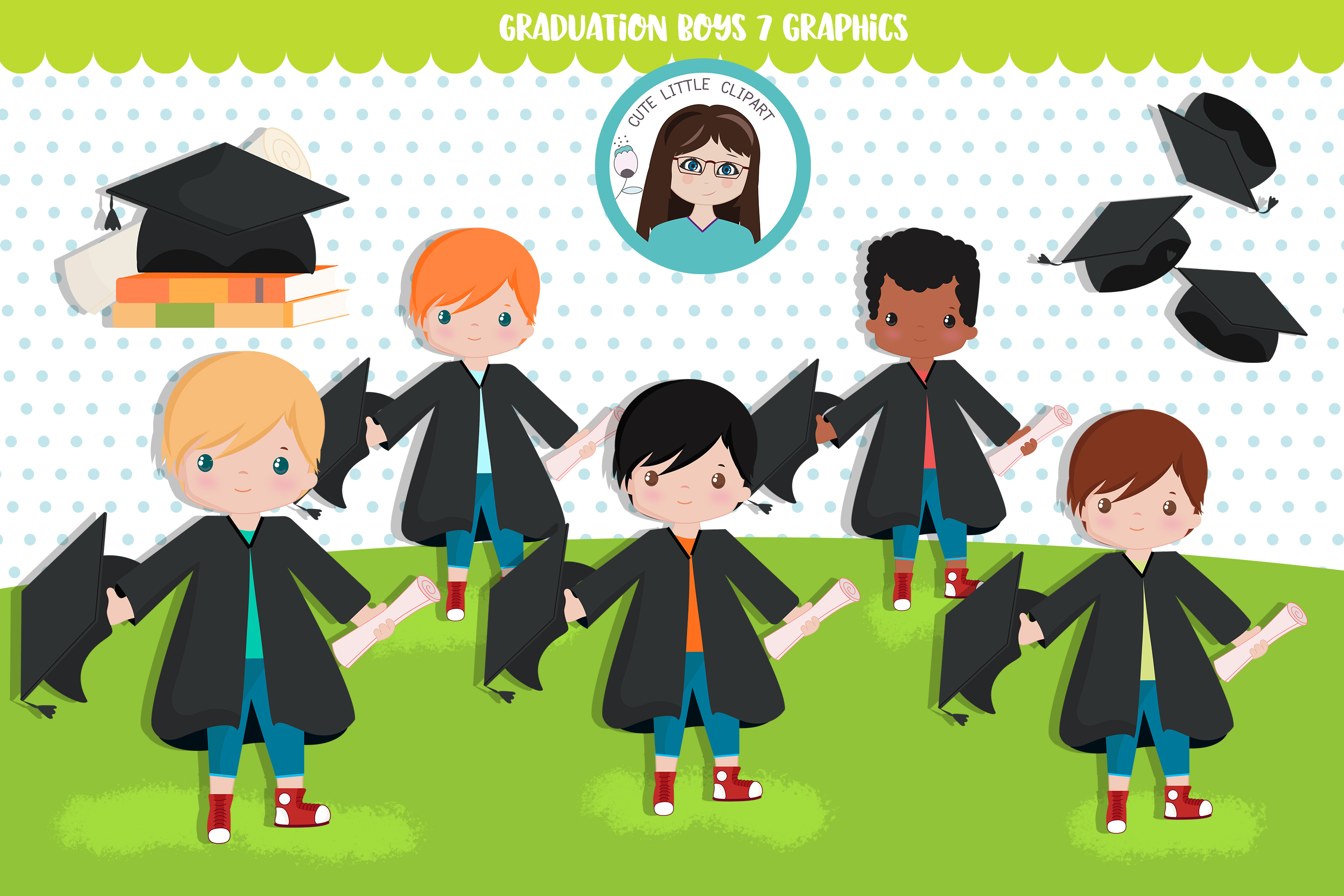 Download Free Graduation Boys Graphic By Cutelittleclipart Creative Fabrica for Cricut Explore, Silhouette and other cutting machines.