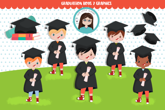 Graduation Boys Cliparts Graphic Illustrations By CuteLittleClipart