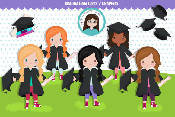 Graduation Girls Cliparts Graphic Illustrations By CuteLittleClipart