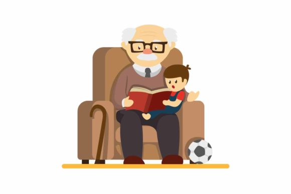 Download Free Grandparent Day Granpa Storytelling Boy Graphic By Aryo Hadi for Cricut Explore, Silhouette and other cutting machines.