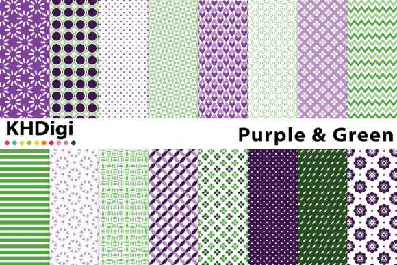 Download Free Green And Purple Digital Paper Graphic By Khdigi Creative Fabrica for Cricut Explore, Silhouette and other cutting machines.