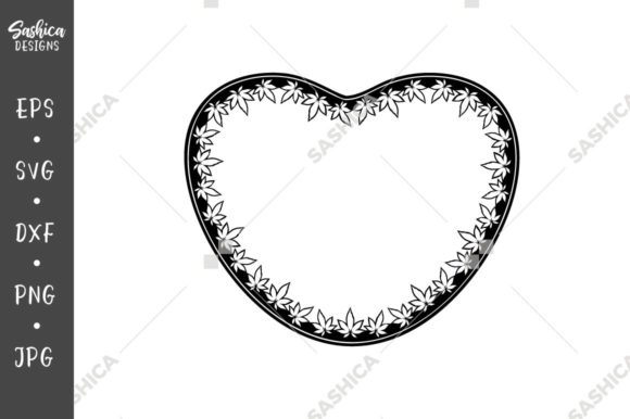 Download Free Heart Frame With Marijuana Leaves Graphic By Sashica Designs for Cricut Explore, Silhouette and other cutting machines.