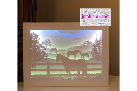 Horses in the Fields 3D Paper Shadow Box Graphic 3D Shadow Box By Jumbleink Digital Downloads