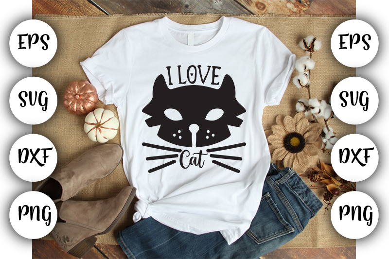 Download Free I Love Cat Graphic By Design Store Creative Fabrica for Cricut Explore, Silhouette and other cutting machines.