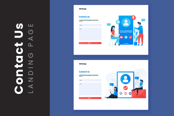 Illustration Landing Page Of Contact Us Graphic By H12