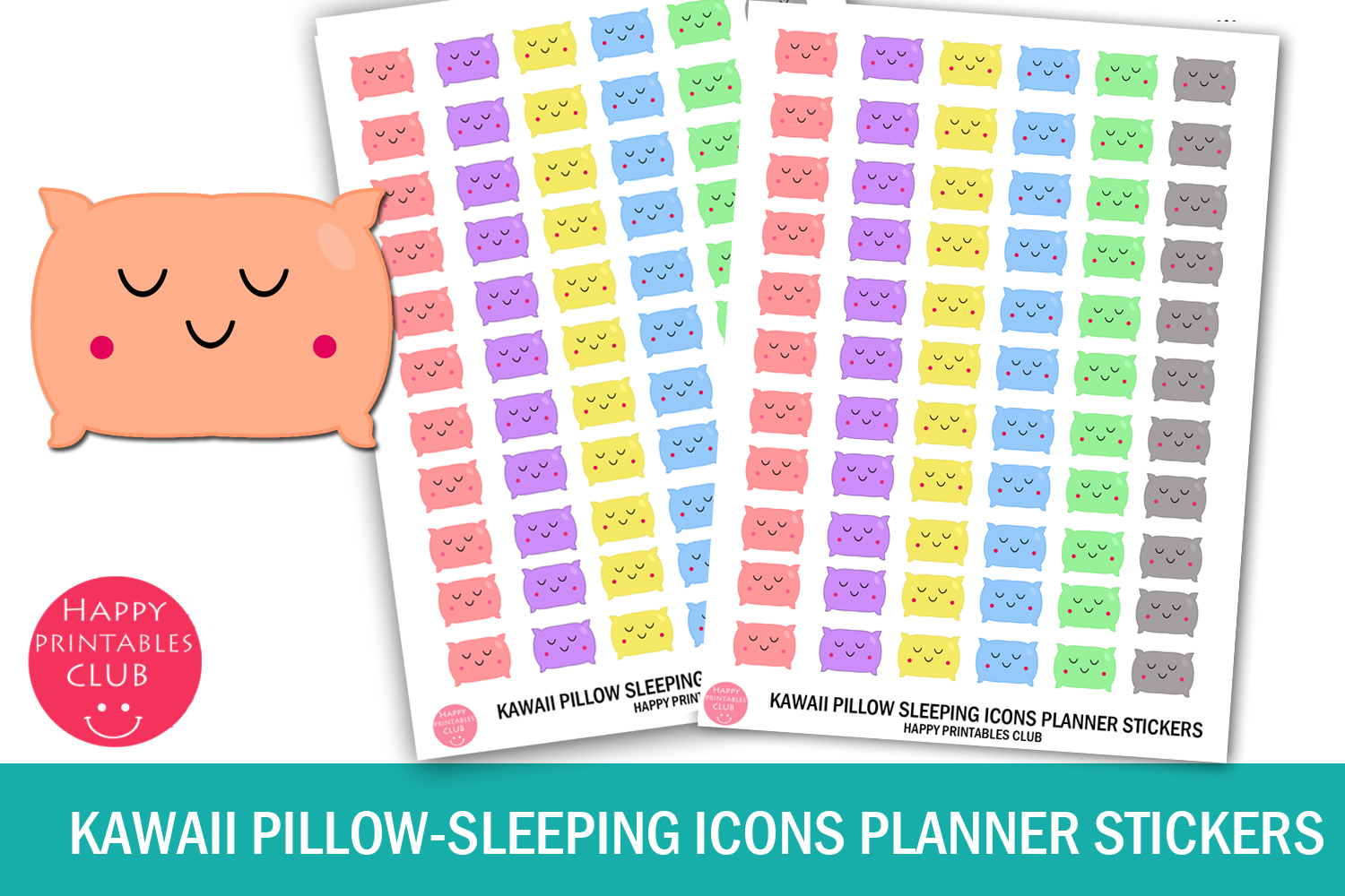 Download Free Kawaii Pillow Sleeping Icons Planner Graphic By Happy Printables Club Creative Fabrica for Cricut Explore, Silhouette and other cutting machines.