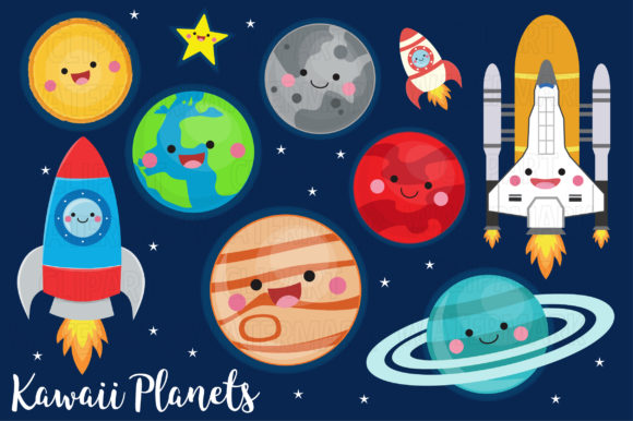 Kawaii Planets Graphic Illustrations By magreenhouse