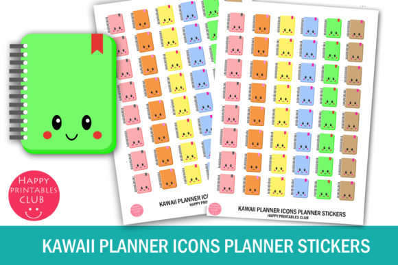 Print on Demand: Kawaii Planner Icons Planner Stickers Graphic Crafts By Happy Printables Club