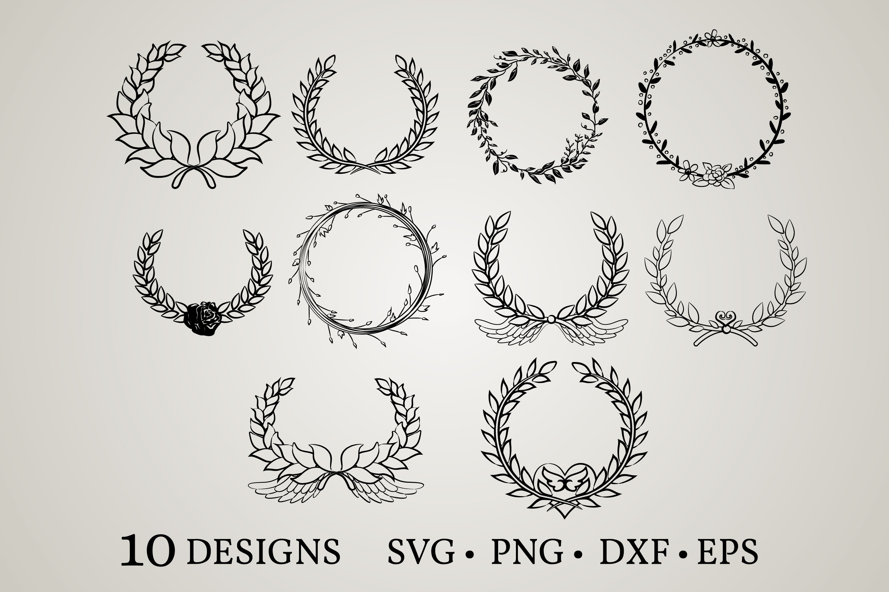 Download Free Laurel Bundle Wreath Graphic By Euphoria Design Creative Fabrica for Cricut Explore, Silhouette and other cutting machines.