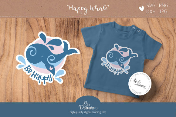 Download Free Layered Cut File Cute Whale Graphic By Byderowen Creative for Cricut Explore, Silhouette and other cutting machines.