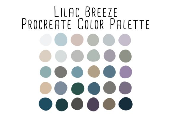 Print on Demand: Lilac Breeze Procreate Color Palette Graphic Add-ons By RoughDraftDesign