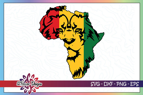 Download Free Lion Face Africa Map Graphic Graphic By Ssflower Creative Fabrica for Cricut Explore, Silhouette and other cutting machines.