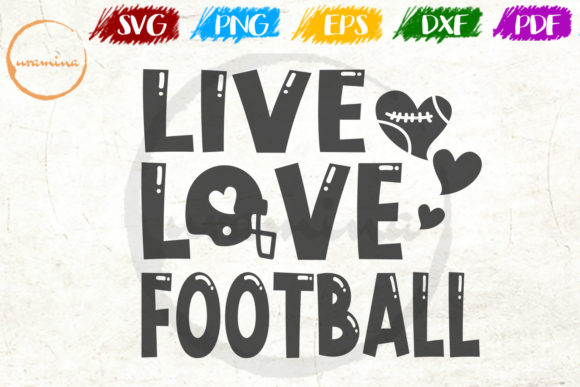 Download Free Live Love Football Graphic By Uramina Creative Fabrica for Cricut Explore, Silhouette and other cutting machines.