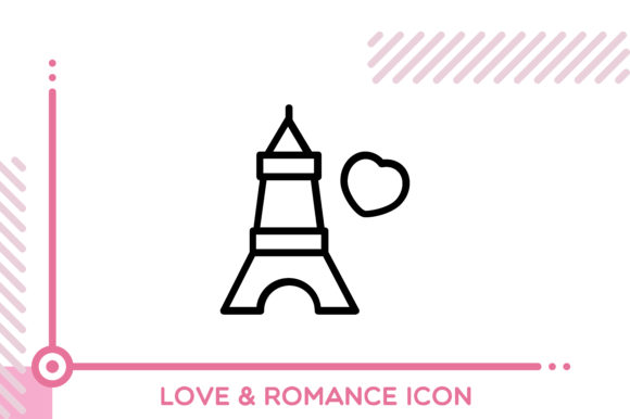 Download Free Love And Romance Eiffel Tower Graphic By Freddyadho Creative for Cricut Explore, Silhouette and other cutting machines.