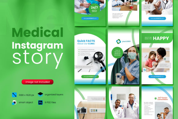 Print on Demand: Medical Social Media Story Template Graphic Websites By diqtam
