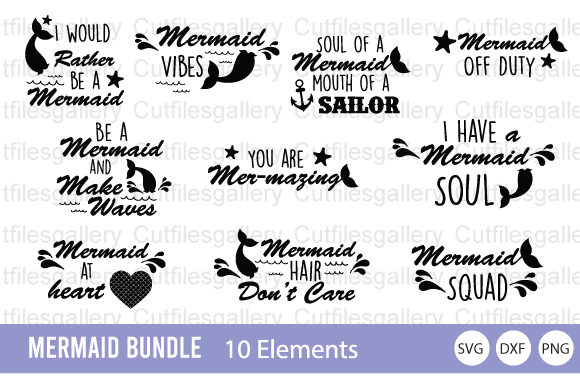 Download Free Mermaid Bundle Graphic By Cutfilesgallery Creative Fabrica for Cricut Explore, Silhouette and other cutting machines.