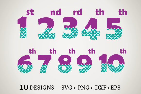Mermaid Tail Number Graphic Print Templates By Euphoria Design