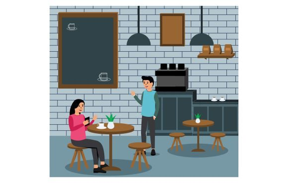 Modern Flat Coffee Shop Graphic Illustrations By Redvy Creative