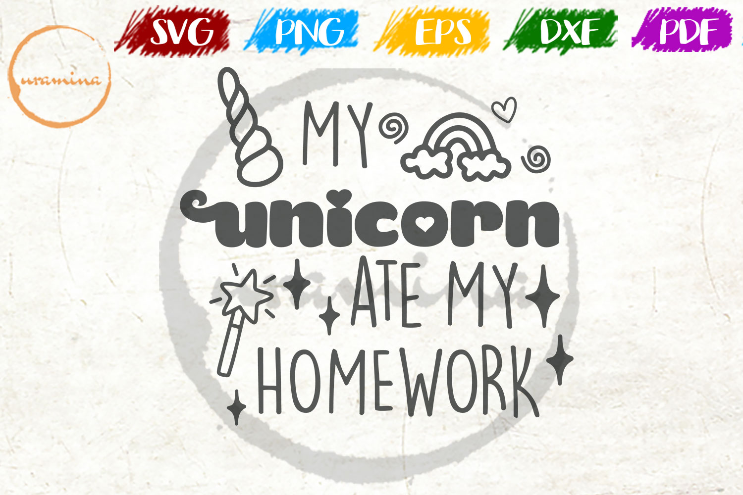 Download Free My Unicorn Ate My Homework Graphic By Uramina Creative Fabrica for Cricut Explore, Silhouette and other cutting machines.