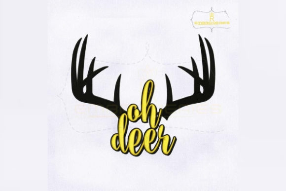 Ohh Deer Antler Woodland Animals Embroidery Design By RoyalEmbroideries