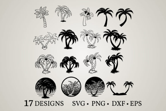 Download Free 5 Palm Tree Svg Designs Graphics for Cricut Explore, Silhouette and other cutting machines.