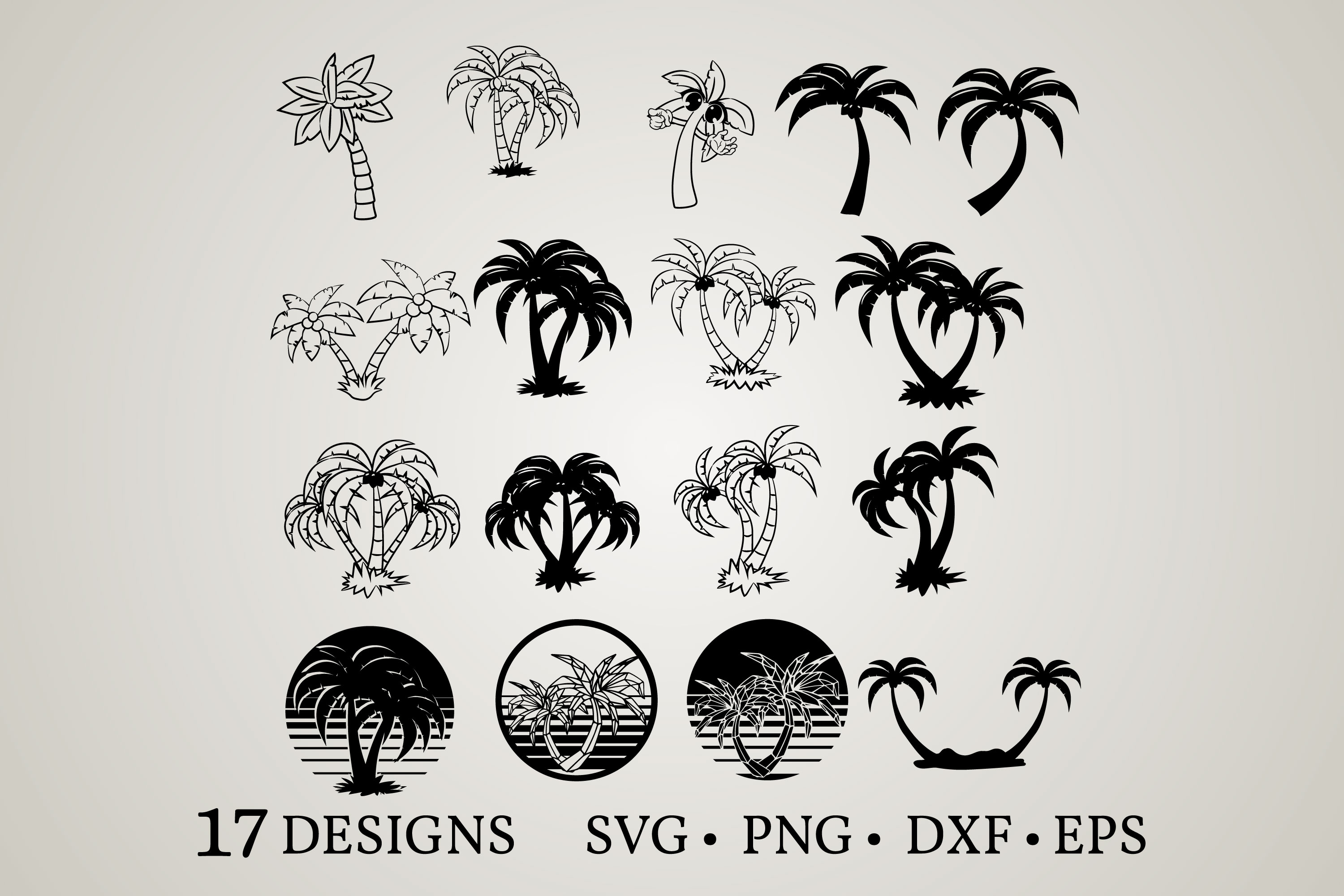Download Free Palm Tree Bundle Graphic By Euphoria Design Creative Fabrica for Cricut Explore, Silhouette and other cutting machines.