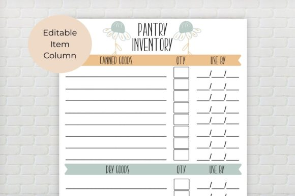 Download Free Pantry Inventory Editable Printable Graphic By The Little Crafty for Cricut Explore, Silhouette and other cutting machines.