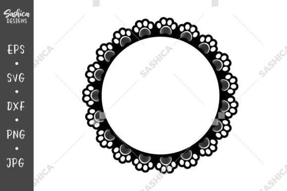 Download Free Paw Print And Grooming Comb Circle Frame Graphic By Sashica for Cricut Explore, Silhouette and other cutting machines.
