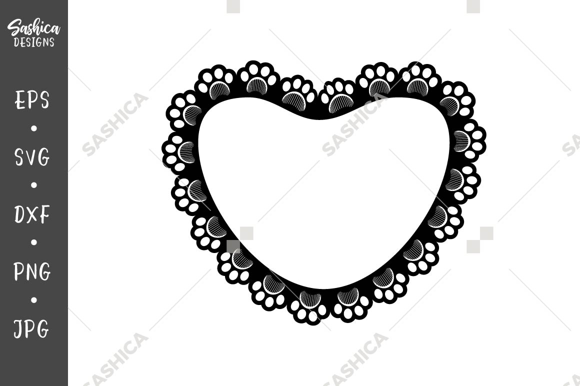 Download Free Paw Print And Grooming Comb Heart Frame Graphic By Sashica for Cricut Explore, Silhouette and other cutting machines.